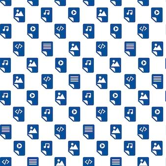 Arquivos de mídia esboçam ícones em fundo branco. design moderno padrão sem emenda da web. padrão de sinais de web diferente. símbolos de arquivos de áudio, vídeo e documento isolados
