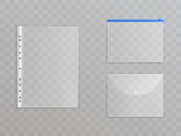 Arquivos de plástico transparentes - conjunto de material de escritório. pastas de celofane com zíper