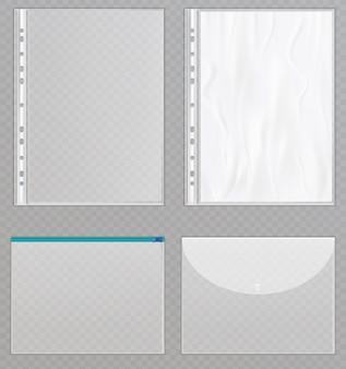Arquivos de plástico transparentes.