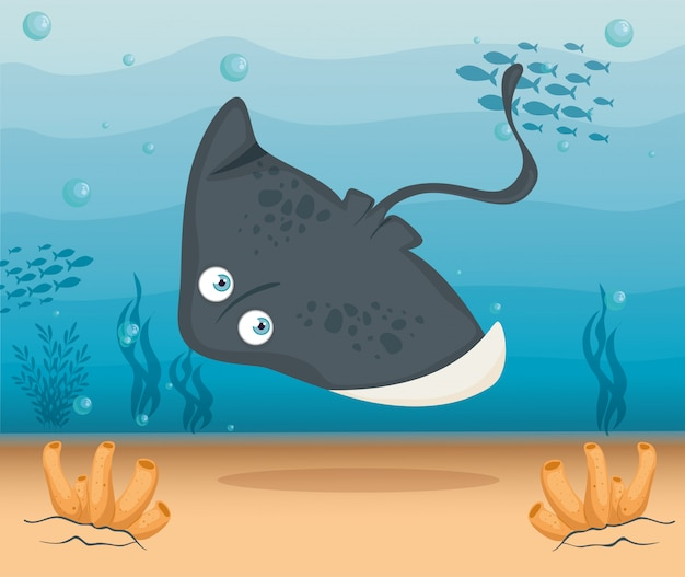 Arraia animal marinho no oceano, morador do mundo do mar, criatura subaquática bonita, habitat marinho