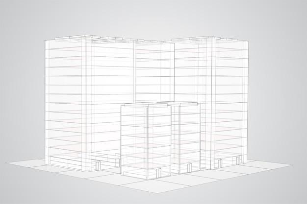 Arranha-céu. grupo de edifícios em branco