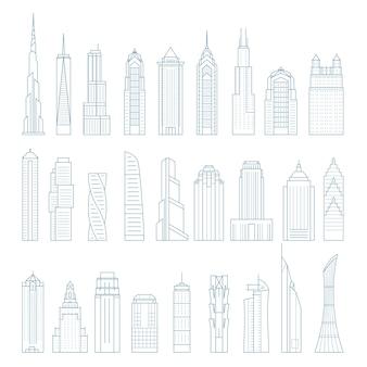 Arranha-céus e edifícios de megalópoles modernas - torres e pontos de referência
