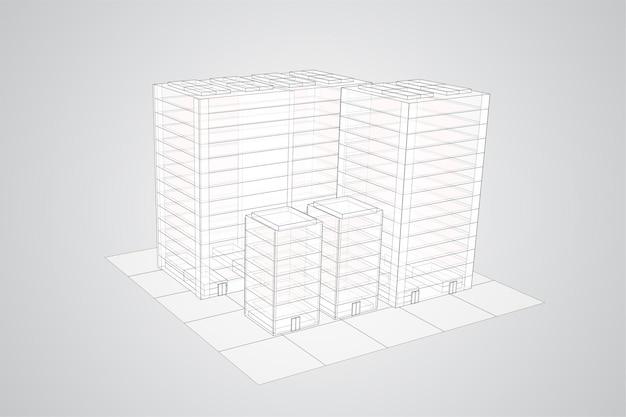 Arranha-céus. grupo de edifícios em um fundo colorido.