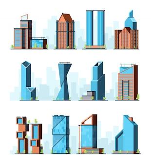 Arranha-céus urbanos. edifícios de escritórios corporativos modernos empresa centro cidade construções