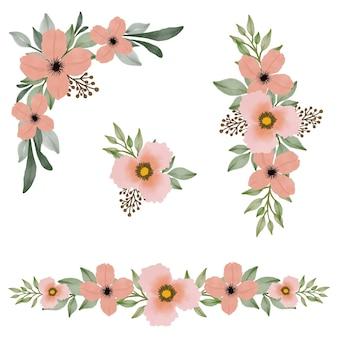 Arranjo aquarela floral pêssego para saudação e cartão de casamento