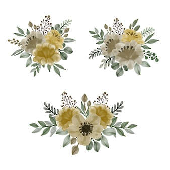 Arranjo aquarela floral quadro de flores amarelas