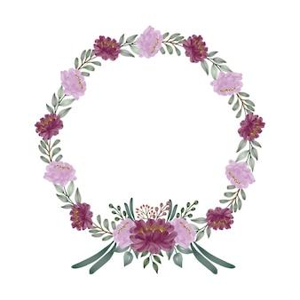Arranjo de aquarela floral círculo moldura em rosa e design floral vermelho