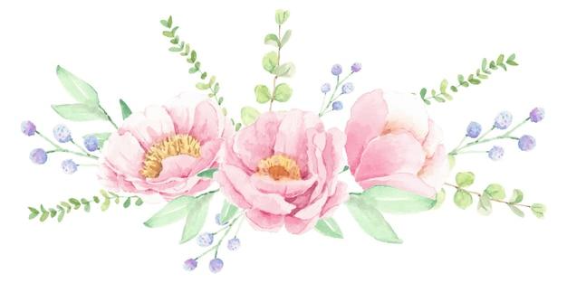 Arranjo de buquê de flores de peônia rosa aquarela isolado