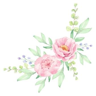 Arranjo de buquê de flores de peônia rosa aquarela