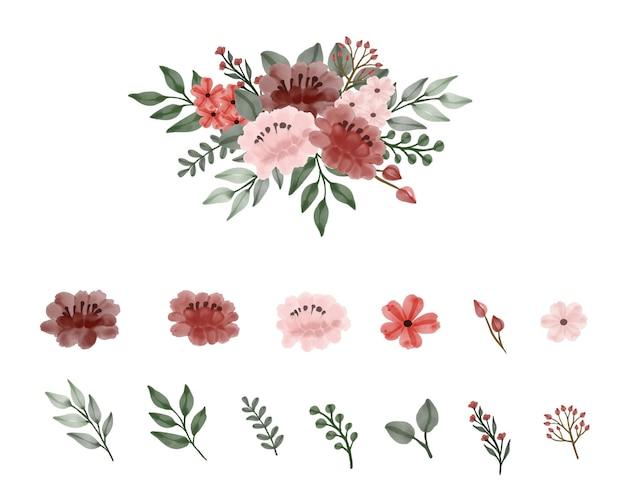 Arranjo de buquê de rosas vermelhas e rosa com coleção de folhas de botão de ramo de flor