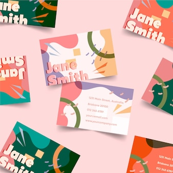 Arranjo de cartões de visita em tons pastel