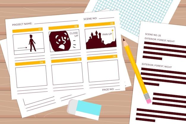 Arranjo de elementos criativos para o conceito de storyboard