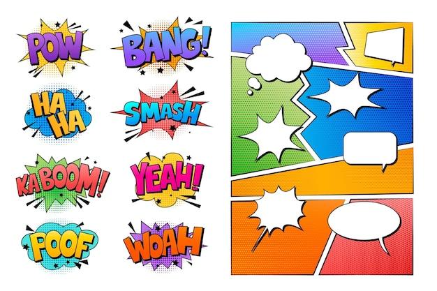 Arranjo de elementos em quadrinhos coloridos