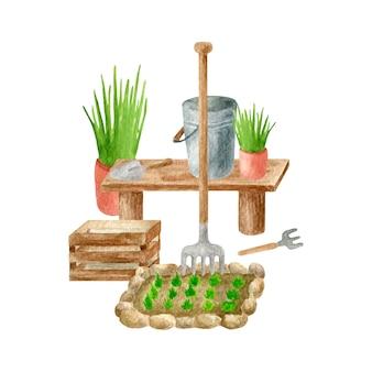 Arranjo de ferramentas de jardim em aquarela, ilustração de cenário rural