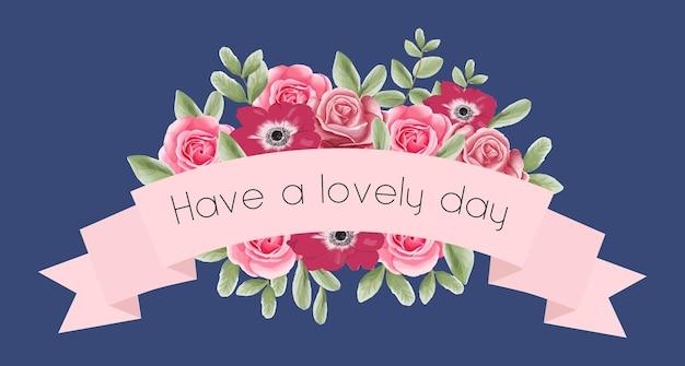 Arranjo de flores com fita para cartão, banner, casamento, dia dos namorados