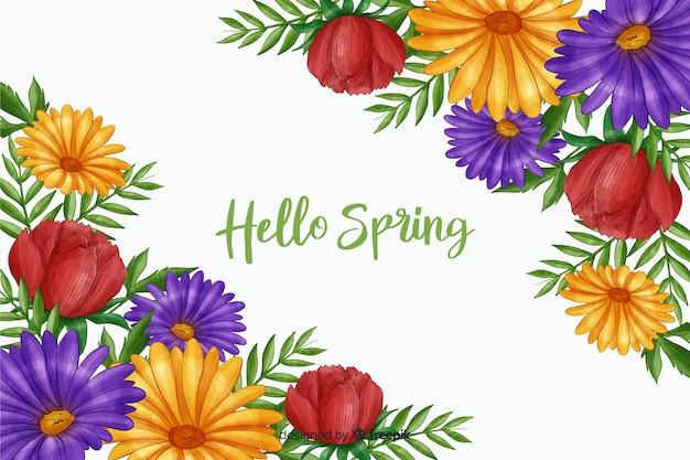 Arranjo de flores com oi citação de primavera