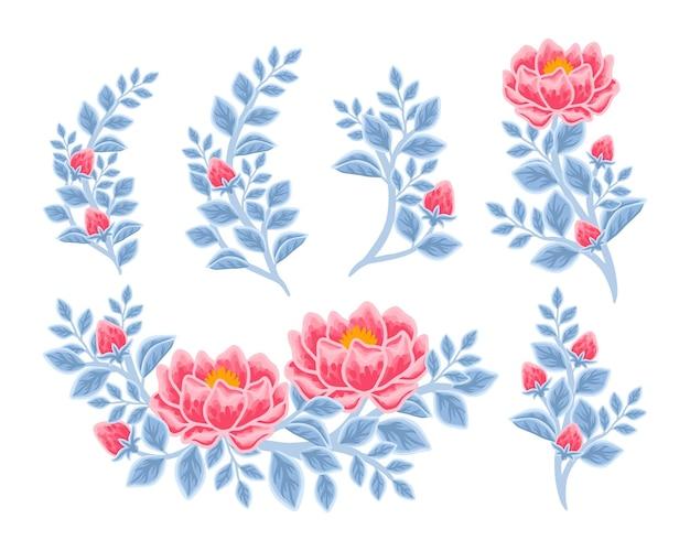 Arranjo de flores de peônia vermelha e azul clássico desenhado à mão e coleção de elementos de buquê
