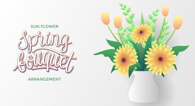 Arranjo de flores do sol de buquê de primavera