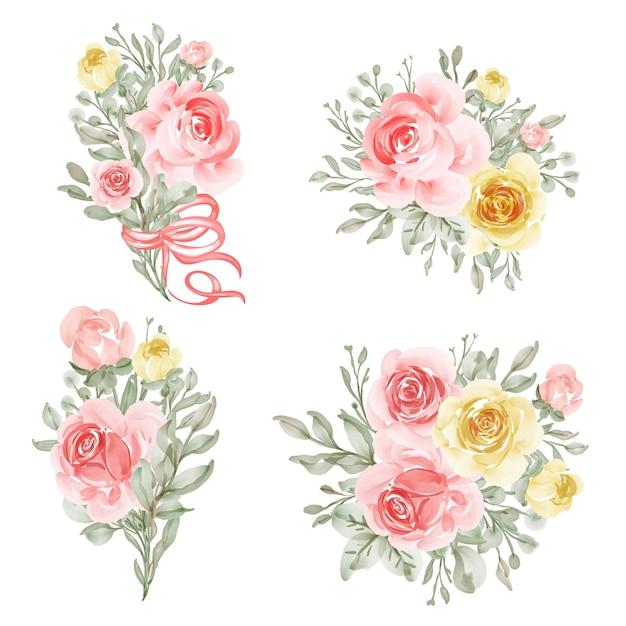 Arranjo de flores e buquê de flores amarelas e pêssego para casamento