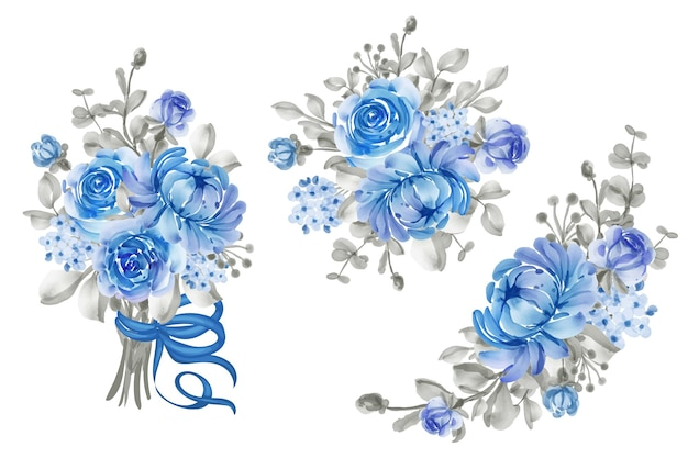 Arranjo de flores e buquê de flores azul e cinza para casamento