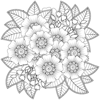 Arranjo de flores mehndi. ornamento decorativo. mão de contorno desenhar a página do livro para colorir.