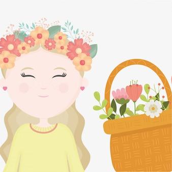 Arranjo de flores menina na cabeça dos desenhos animados