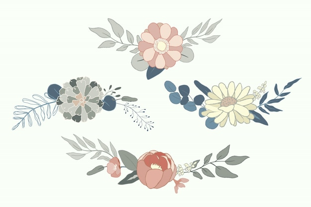Arranjo de flores pastel