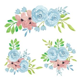 Arranjo de rosas e buquê de flores com ilustração em aquarela