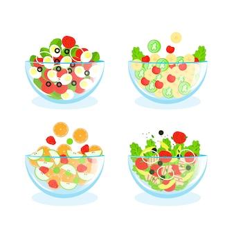 Arranjo de tigelas de frutas e saladas