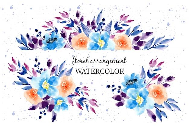 Arranjo floral aquarela colorida