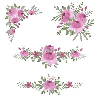 Arranjo floral aquarela rosa rosa