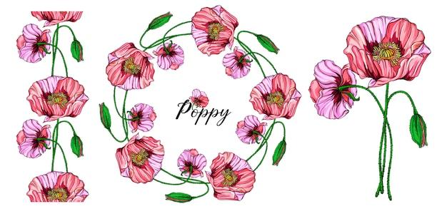 Arranjo floral brilhante com flores de papoula rosa.