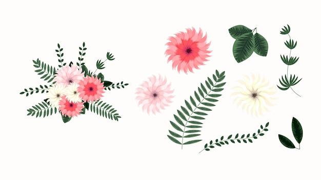 Arranjo floral editável em vetor ilustração coleção de flores verdes lindas
