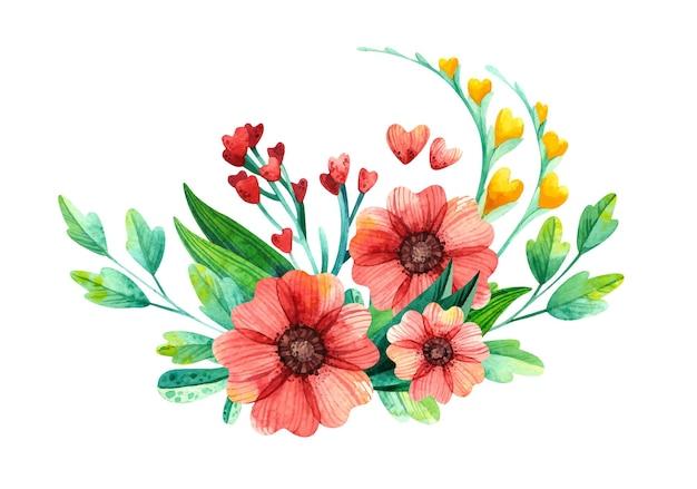 Arranjo floral em aquarela com plantas de primavera em forma de coração.