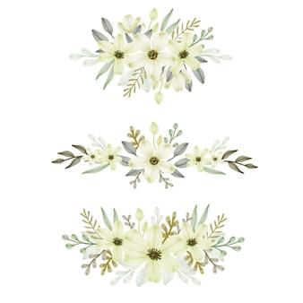 Arranjo floral em aquarela de grinalda amarela suave