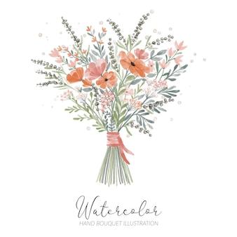 Arranjo floral em aquarela de pétalas pintadas à mão para ilustração de decoração