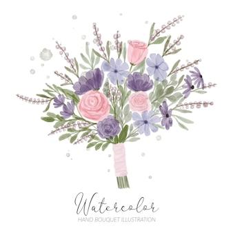 Arranjo floral em aquarela pintado à mão para ilustração de decoração