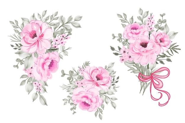 Arranjo floral em aquarela rosa rosa e coleção de buquê