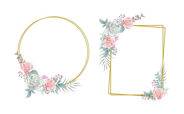 Arranjo floral flores buquê borda design elementos ilustração em aquarela