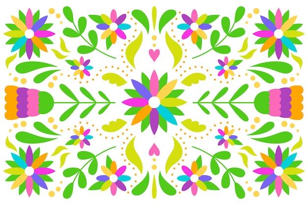 Arranjo mexicano de design plano de fundo de folhas e flores