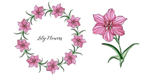 Arranjos de flores de vetor com flores de lírio