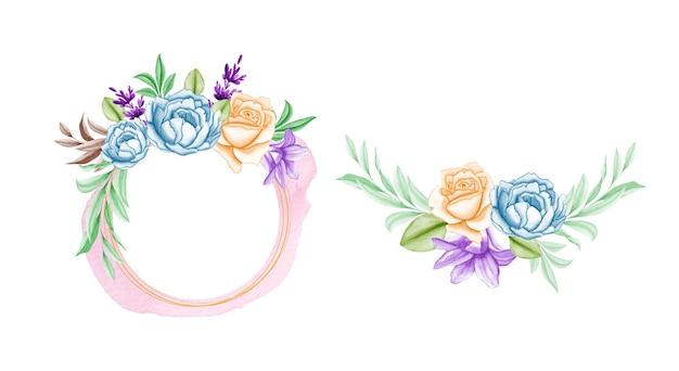 Arranjos de moldura floral com lindas folhas e flores e respingos de aquarela