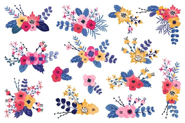 Arranjos florais azuis, rosa e amarelos. buquês de flores românticas da primavera