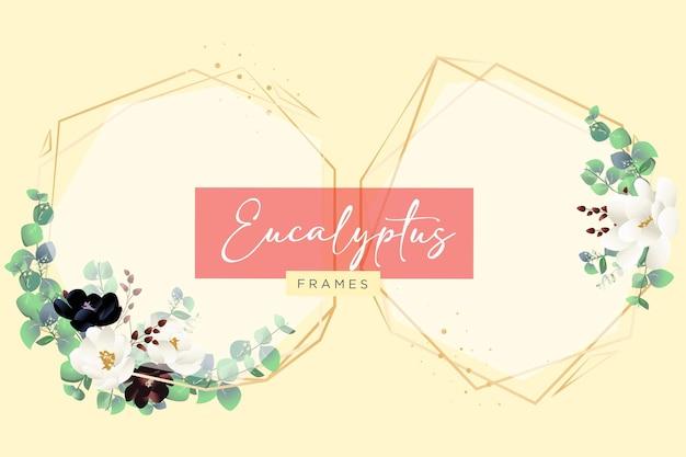 Arranjos florais de eucalipto e molduras geométricas