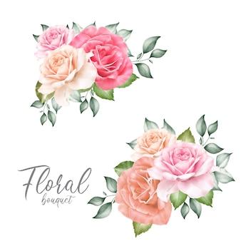 Arranjos florais em aquarela com lindas flores e folhas