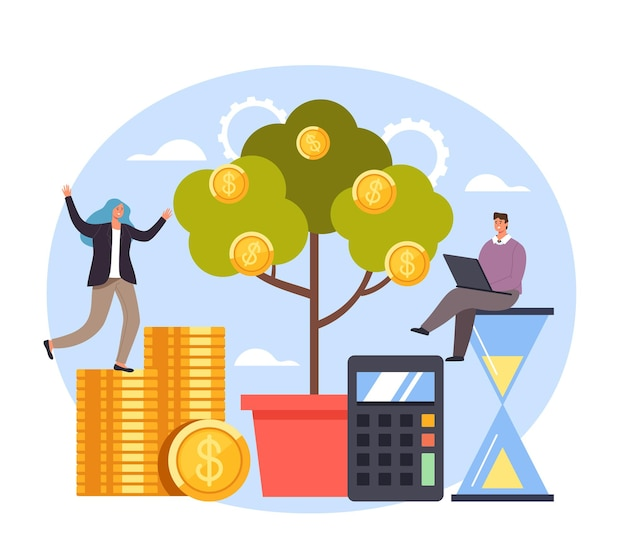 Arranque bem-sucedido, árvore do dinheiro, trabalho em equipe, ilustração, design plano