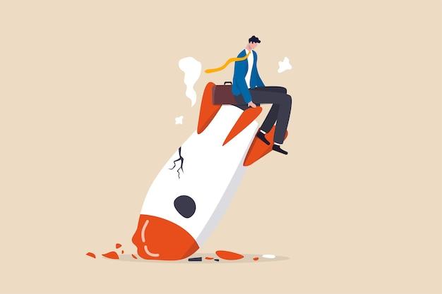 Arranque de negócios fracassado, risco de novo negócio ou conceito de falência de empreendedor inesperado