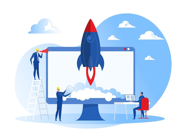 Arranque de projeto empresarial pessoas lançam conceito de foguete de nave espacial