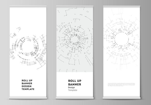 Arregace banner stands, folhetos verticais, sinalizadores modelos de negócios de design. conexão de rede.