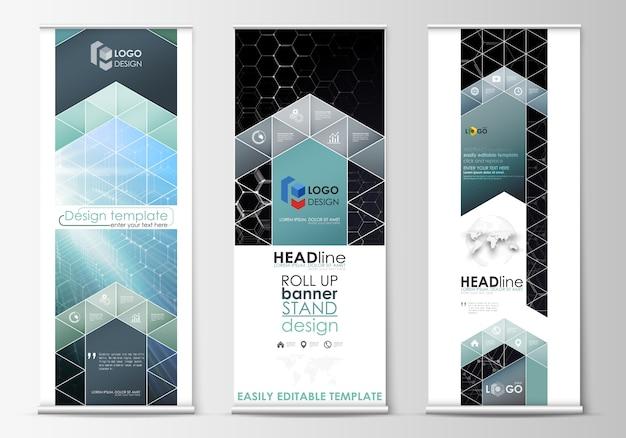 Arregace banner stands, modelos de estilo abstrato geométrico, panfletos de vector vertical corporativa, layouts de bandeira.